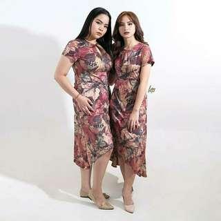 HTP Old Rose Leafy Hi-Low Deep V Dress