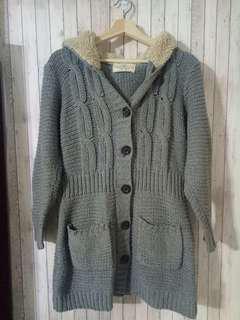 🚚 現貨 A&F Abercrombie and Fitch 連帽長版 針織毛線衣 口袋外套 #九月女裝半價