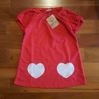 Red love top (2T-6T)