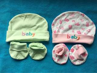 Booties and bonnet set (light green and printed pink)