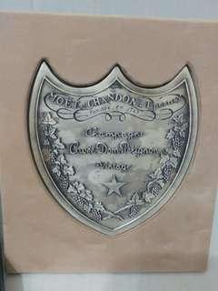 法國 香檳王 Dom Perignon 品牌紙鎮 連盒 市面罕見 全金屬製