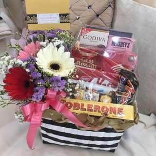 Chocolate Delight & lovely fresh flowers