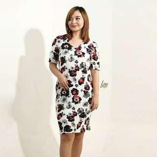 HTP Black Red Floral U-Neck T Dress