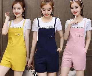 81398 #夏季短袖T+吊帶褲 兩件套  尺码: 2XL XL L M S(偏小版)   颜色: 粉色 寶藍色 姜黄色