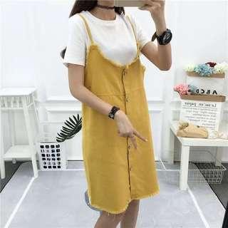 🚚 (特價)韓版休閒女裝8色寬鬆牛仔裙吊帶裙連身裙