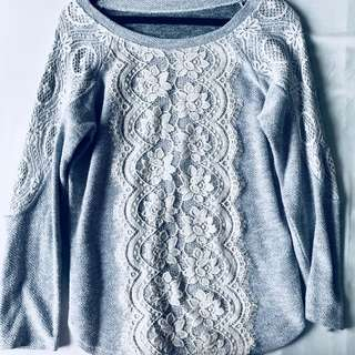 Gray Sweater with Lace