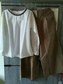 Set blouse celana kulot polos