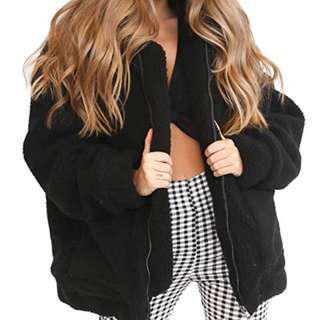 NWT Black Teddy Sherpa Coat Jacket