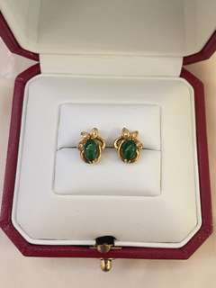 18 K金翡翠鑲鑽耳環(豆青料 )