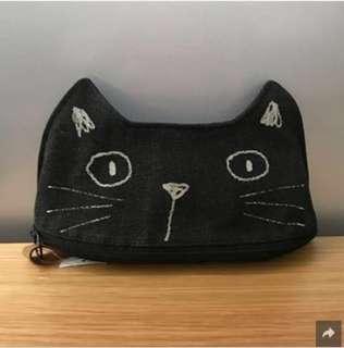 《全新日本直送》貓貓化粧袋(細) 黑色/白色