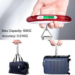 FREETOO Luggage Scale Portable Digital Travel Suitcase Scales Weights with Tare Function for Travel Outdoor Home 110 lb/ 50KG Capacity (metallic Red)