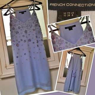 ⭐Stunning French Connection beaded Chiffon dress in a stunning cornflower blue(size 6)