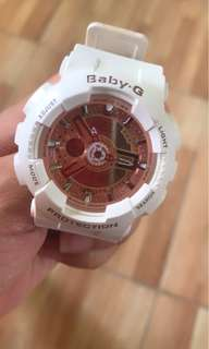 Baby-G Glossy White & Rose Gold Peach BA-110-7A1