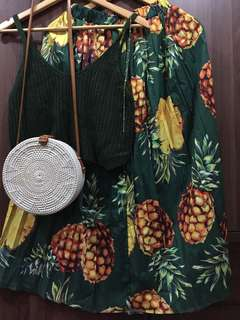 [BRAND NEW] Green Pineapple Printed Skirt