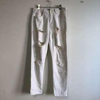 C&M white rip jeans
