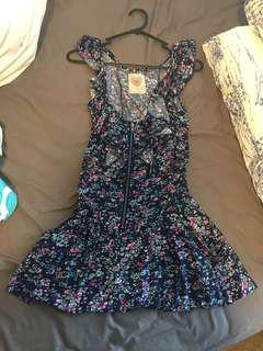 Dark blue floral zipper dresses