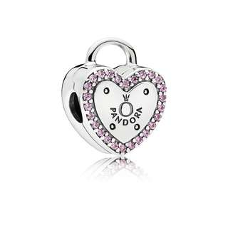 Authentic Pandora Charm Lock Your Promise Clip Fancy Fuchsia Pink CZ Italy Sterling Silver 92.5 (CHARMS ONLY)