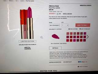 LIMITED EDITION- Mecca Max pout pop lipstick