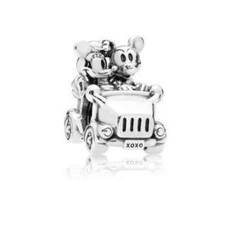 Authentic Pandora Charm Mickey and Minnie Vintage Car Charm Italy Sterling Silver 92.5 (CHARMS ONLY)