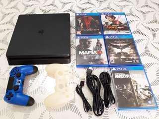 PS4 Slim 500GB Jet Black with 5 Games