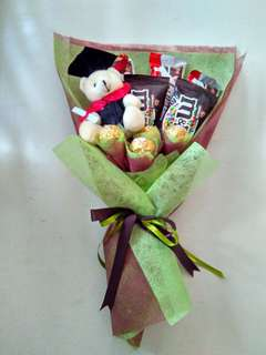 Graduation Bear and assorted chocolates bouquet