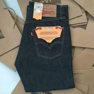 Celana jeans panjang pria Levis 505 import Grade Ori biru navy