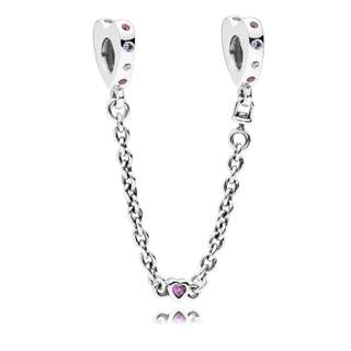 Authentic Pandora Safety Chain Bright Hearts with Cubic Zirconia Italy Sterling Silver 92.5 (CHARMS ONLY)Safety Chain Bright Hearts with Cubic Zirconia Italy Sterling Silver 92.5 (CHARMS ONLY)