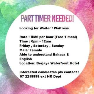 Looking for Waiter / Waitress johor bahru part time
