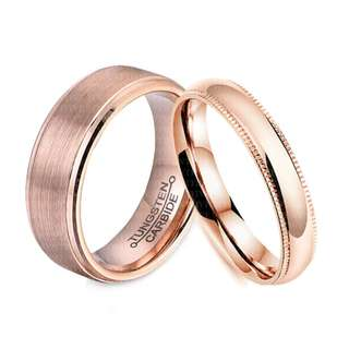 TSCPR-002 • ROSE GOLD MANIA Wedding Love Band Rings• FIXED SIZE
