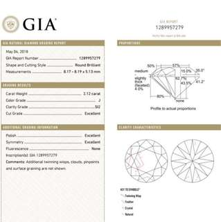 GIA 鑽石 2.12 J SI2 3EX N