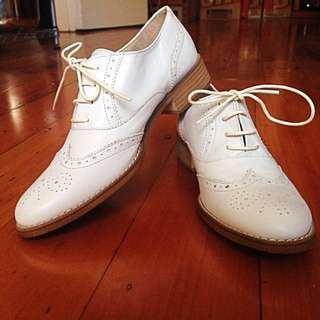 White Barclay Leather Brogues
