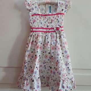 Dress Girl's White Flower 4-5 Tahun