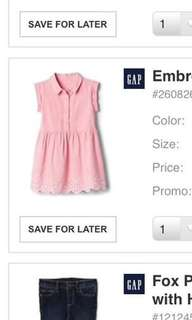 authentic Baby GAP Eyelet Shirt Dress