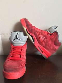 All red air Jordan retro 5s authentic