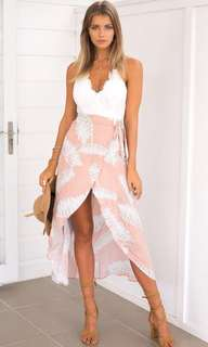 Lace Top Floral Print Bottom Dress