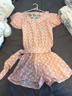 Pink dotti see though back lace onesie