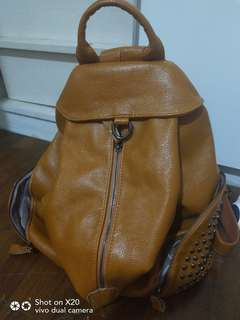 unisex leather like haversack