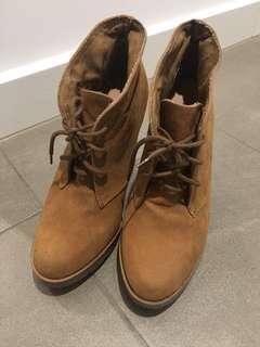 Brown block high heels boots