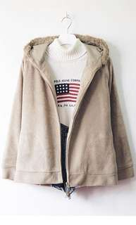 Fleece fur hooded jacket