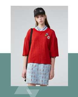 🚚 gozo 荷葉袖上衣(紅)