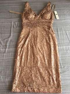 Eliza J Glittery Nude Dress
