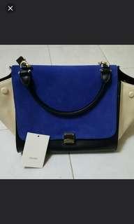 Celine trapeze blue handbag