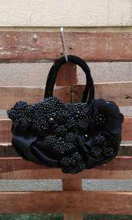 Handmade Fabric bag with beaded flowers