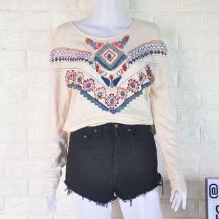 Auth Zara Trafaluc embellished sweater
