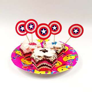 💥Superheroes Avengers Capt America Party supplies- cupcake toppers / dessert toppers/ party deco