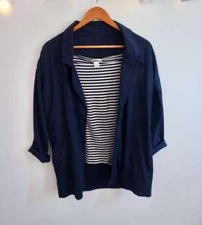 Sabrina stripe h&m plus blazer navy