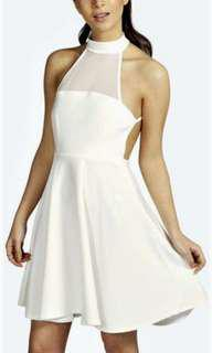 Boohoo white backless dress 10