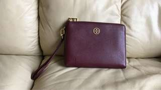 Tory Burch wristlet wine red