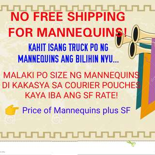 NO FREE SHIPPING FOR MANNEQUINS ORDER