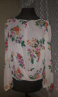 Atmosphere Floral Sheer top. Long sleeves